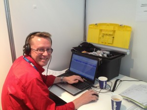 Anthony Simmons at the Media Room Work Desk during Avalon 2013