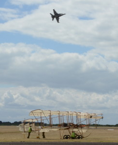 F/A-18 flying over the Bristol Boxkite replica at Pt Cook (Photo by James Kightly)