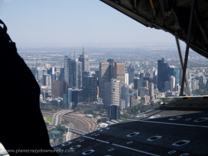 The view of Melbourne from a RAAF C130J's ramp