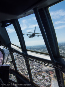 The view from the C130J's cockpit is spectacular, even without another aircraft in close formation
