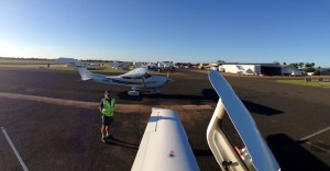 BenAir's VH-SJA after arriving at Temora (YTEM)