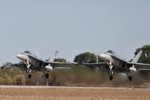 RAAF F18 Hornets doing a paired take-off
