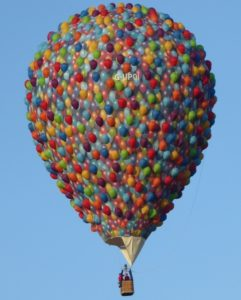 "Cameron's ""UP"" Balloon was designed to look like a collection of small helium balloons."