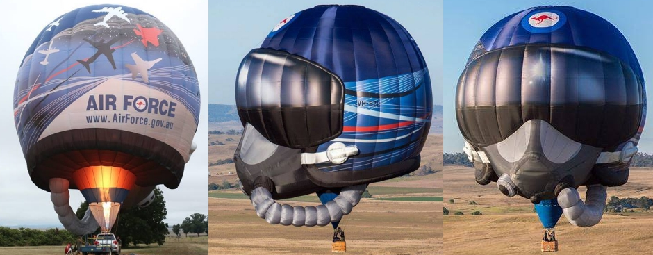 "The new RAAF ""Flying Helmet"" special shape hot air balloon"